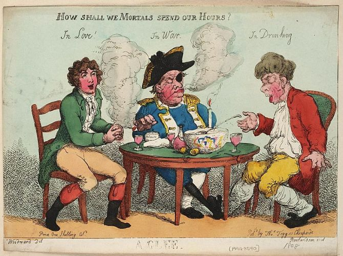 A caricature attributed to Thomas Rowlandson