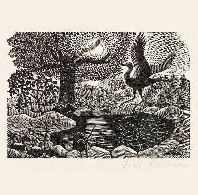 A Heron Landing (1937) by Eric Ravilious (1903-1942)