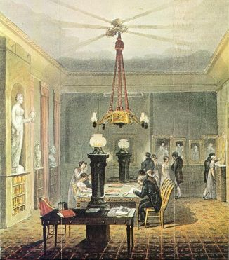 Illus. showing gas light introduced into Ackermann's Art Library