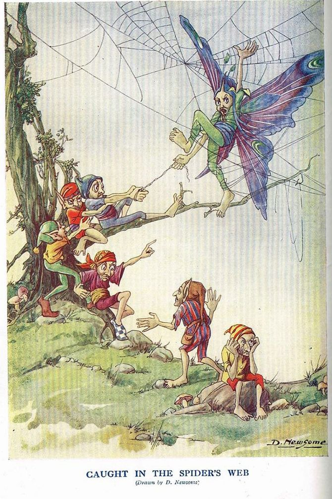 Caught in the Spider's Web from Little Folks Magazine (c.1920s)