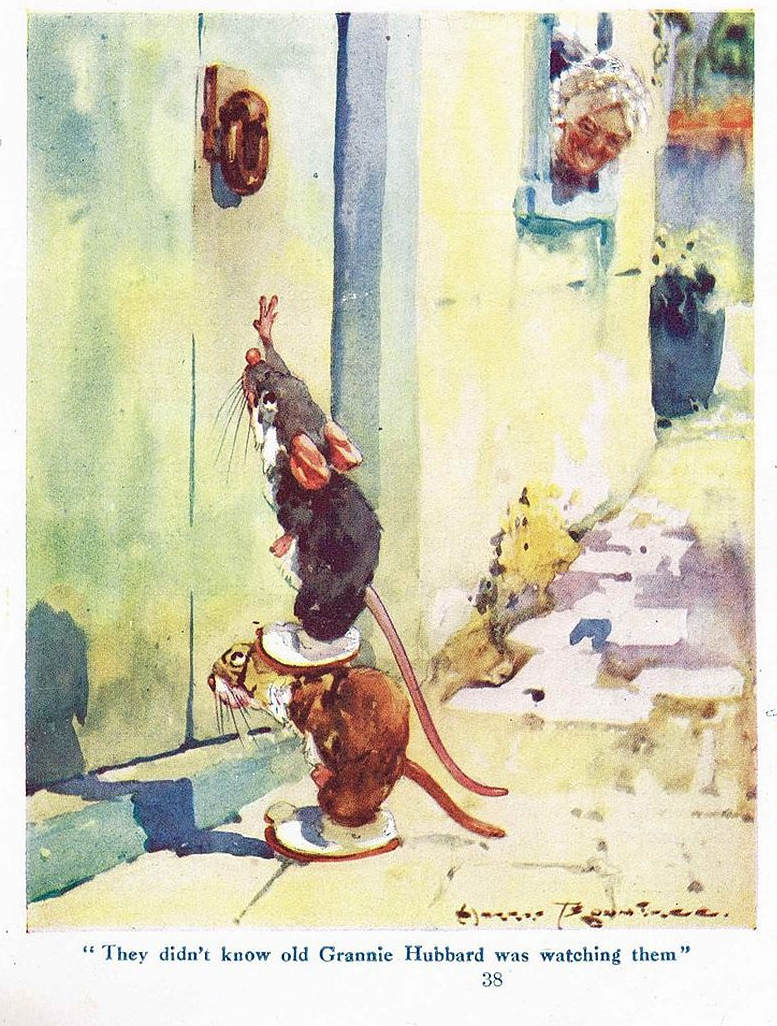 Illustration of Troublesome mice watched by Grannie (1923)