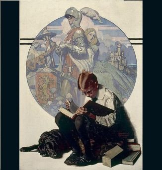 Boy Reading an Adventure Story (1923) by Norman Rockwell