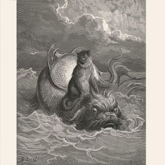 The Monkey and the Dolphin (c.1868) by Gustave Doré