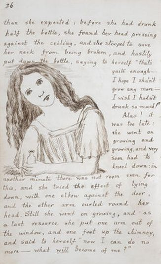 Illustration from Lewis Carroll's original manuscript of Alice's Adventures under Ground (1862-1864)