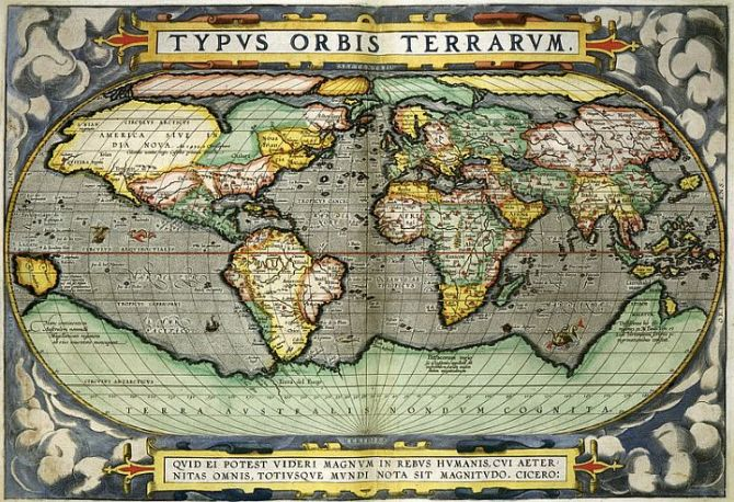 World map, created by Abraham Ortelius 1598