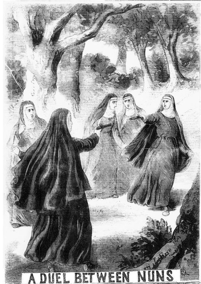 A duel between nuns from the Illustrated Police News (1869).