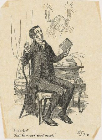 Illustration (1894) of Mr. Collins from Pride and Prejudice by Jane Austen. Artist, Hugh Thomson.