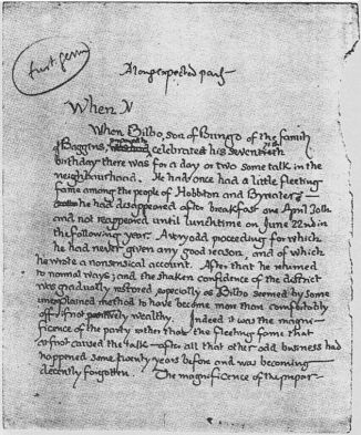 Original first page for Lord of the Rings (1937), J.R.R. Tolkien.