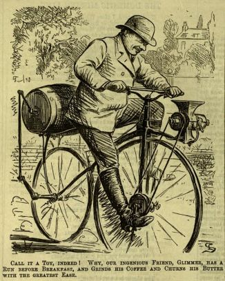 Man on strange bicycle. Linley Sambourne illustration for Punch