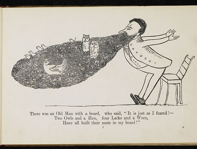 Illustration of 'There was an Old Man with a Beard ' - a limerick from Edward Lear's A Book of Nonsense