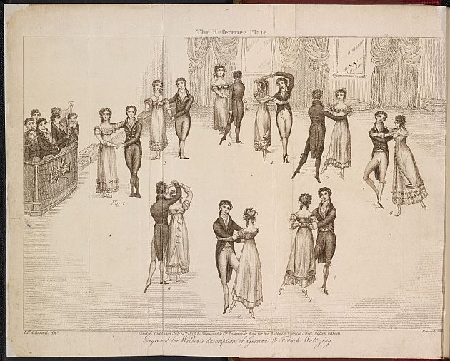Illustration of the correct technique for waltzing (1816).