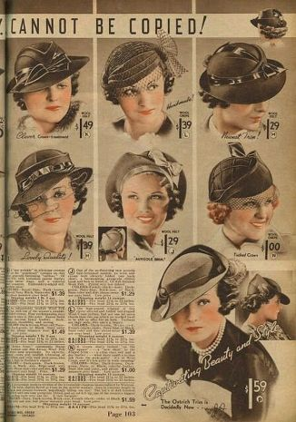 Hats from the Chicago Mail Order Co, 1930's.