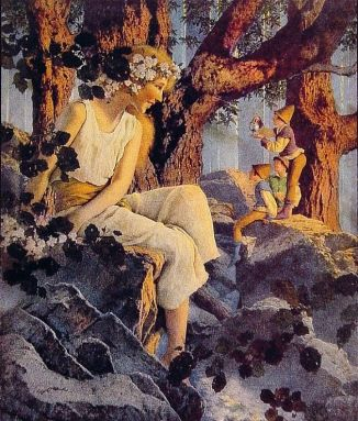 Illustration, Girl with Elf (1918) by Maxfield Parrish