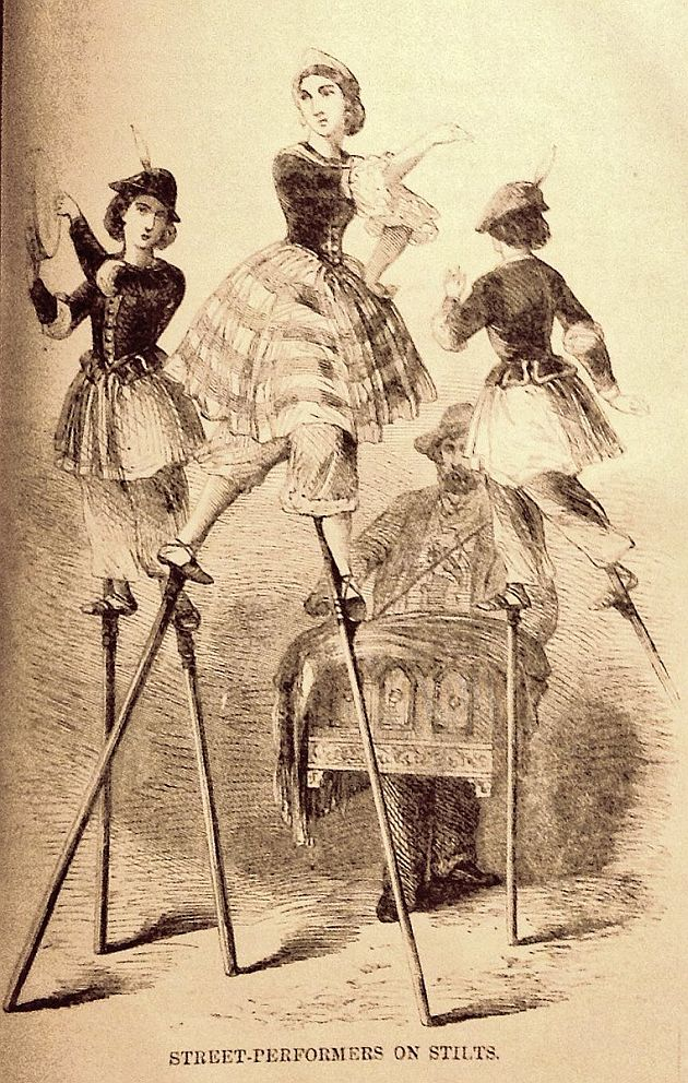Victorian street performers on stilts.